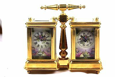 Double Gilt Carriage Clock & Barometer Hand Painted Porcelain Panels