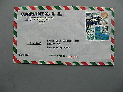 MEXICO, cover to Germany 1982, stamps export ao cars