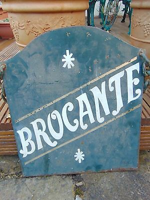 Vintage French Painted Metal Double Sided Swinging Brocante Sign Shabby Chic