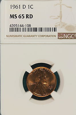1961-D NGC MS65 RED LINCOLN MEMORIAL Cent!! #A6349