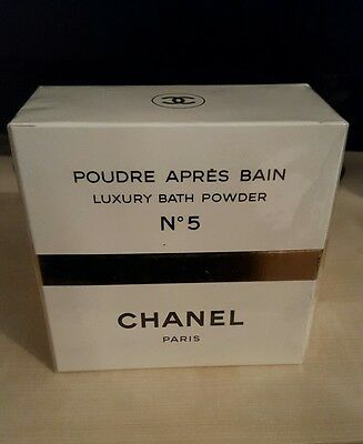 Vintage CHANEL No 5 AFTER BATH POWDER TALC. RARE Cellophane Sealed Box.150g