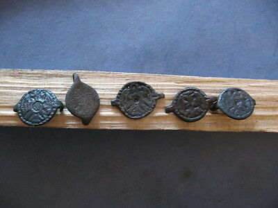 "5 Ancient Celtic ""german Tribes"" Bronze Application With Eagle 600-400 B.c."
