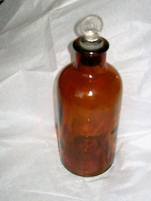Vintage Pyrex bottle brown with Pyrex stamped stopper 9.5 inch high 3.5 diameter