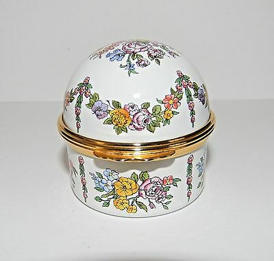 Halcyon Days Enamels Domed Floral Ring Box