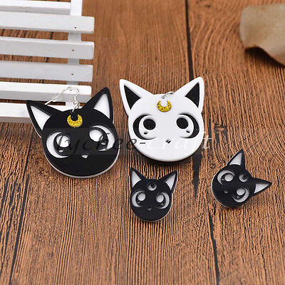 Ainme Sailor Moon Luna Cat Earrings Acrylic Ear Stud Charm Contrast Color Gift