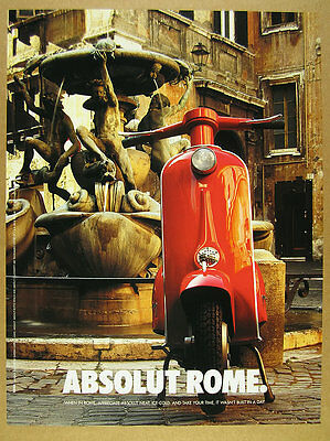 1998 Absolut ROME turtle fountain & red italian scooter photo vintage print Ad