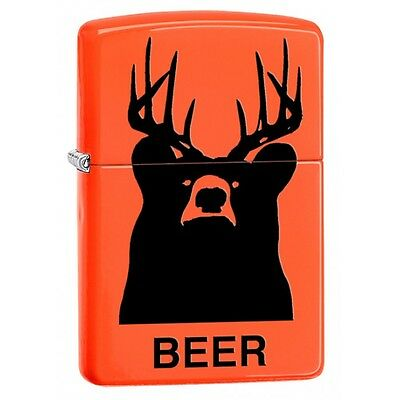 Zippo 29343, Beer?  Bear?, Neon Orange Lighter, Full Size