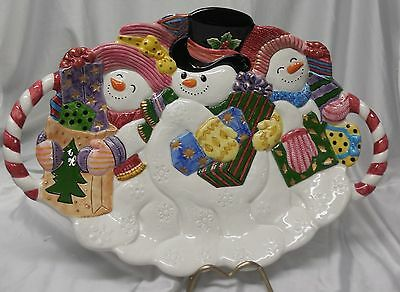 1995 Fitz & Floyd Frosty Friends Snowmen Serving Platter  i796