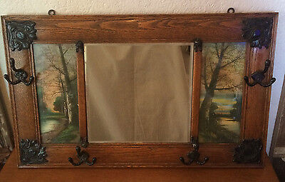 Antique Oak Country Farm House Hall Tree Coat Hanger Mirrow w Forest Prints
