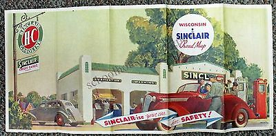 Original Vintage Wisconsin Sinclair Road Map 1930s Great Graphics!