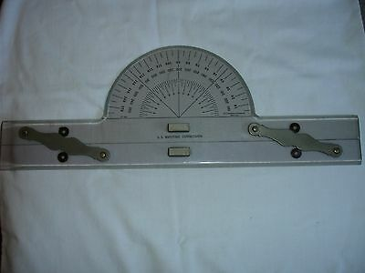 VTG 1944 Acrylic & Brass Nautical Parallel Ruler w/ Protractor~ US MARITIME COMM