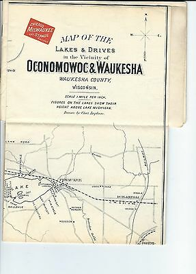 ME-057 - 1891 Waukesha, WI Booklet with Chicago, St. Paul Milwaukee Railway Map