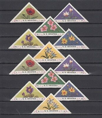 * Croatia, Cinderella issue. Flowers Triangle stamps, set of 12.