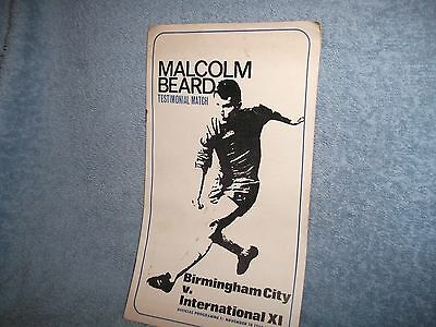Birmingham V International Xi 18-11-1969...beard Testimonial Programme