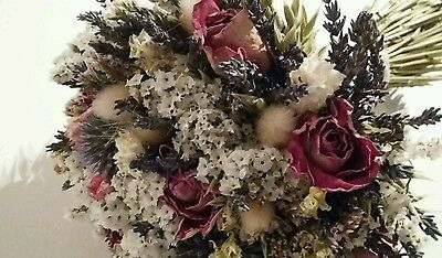 Dried Flower Wedding Bouquet Florence and Flowers Bridal Florist Rose Thistles