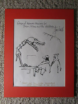 """ORIGINAL """"HERMAN"""" DRAWING signed by JIM UNGER +1991 Universal Press clipping  -"""