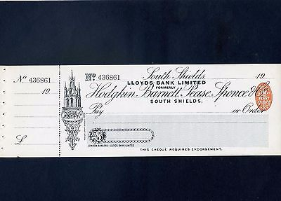 Unused Lloyds Bank Ltd Cheque 19** with  counterfoil - South Shields