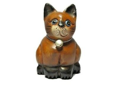 Wooden Sitting Cat  Hand Carved Sculpture Cat Statue Figurine Crafted Wood