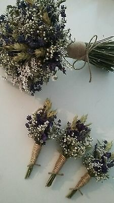 Wedding Buttonholes. Natural Dried Flowers. Gypsophilia Twine Blue Rustic Wheat