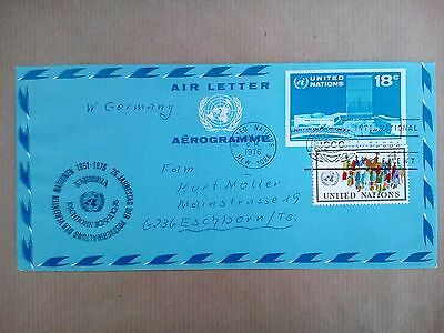 United Nations New York 1976 Aerogramme To West Germany