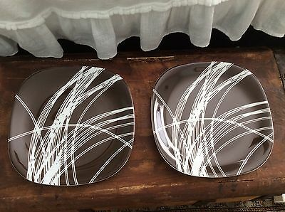 "2 BLOCK LANGENTHAL TRANSITION LINEAR Brown White 1977 7.5"" Salad Plates"