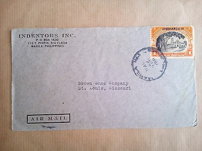 Manila Philippines 29.5.41 Stamp & Cover To St. Louis U.s.a.