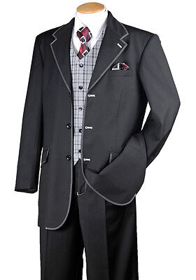 Men's High Fashion Contrast Stitching Wool Feel Suits with Vest and Pants Black