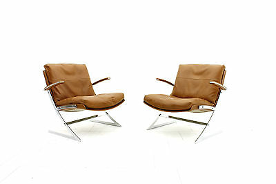 Pair of Lobby chairs by Preben Fabricius for Arnold Exclusiv, 1972 Lounge Steel