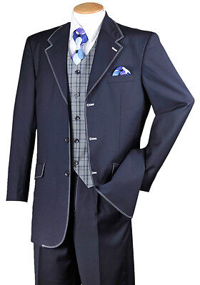 Men's High Fashion Contrast Stitching Wool Feel Suits with Vest and Pants Navy