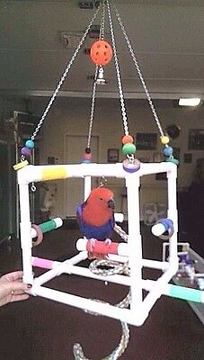 """NEW PVC ** """"CUBE"""" Hanging Perch  Stand**  Birds Love Them"""