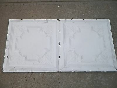 "24x48"" White Antique Ceiling Tin Tile Reclaimed Circa 1916 School Building"