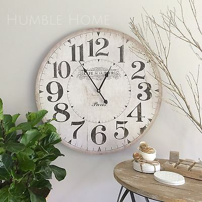 Large 60cm Vintage Rustic White Wall Clock/French Provincial/Hampton's/Neutral