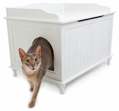 Cat Litter Box Furniture Enclosed Hidden Catbox Wooden Bench Covered Kitty Best