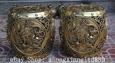 "11"" Chinese Brass Dragon Phoenix Marriage Round Chair Stool Furniture Pair"