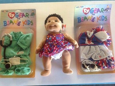 """TY Beanie Kids """"Cutie""""  with Chearleader And Doctor Gear NWT"""