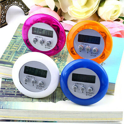 Mini Digital Kitchen Timer Round LCD Cooking Home Countdown UP Timer Alarm AM