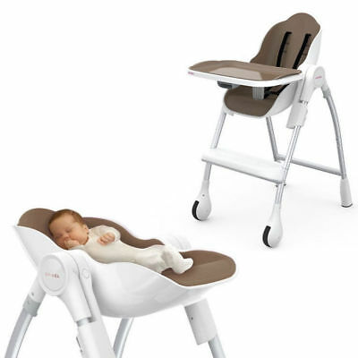 Cocoon High Chair Adjustable/Foldable Tray/Seat Baby/Toddler Feed 0m-5yr Almond