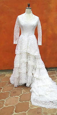 Vintage 1950s White Lace Tulle Wedding GOWN  Dress Train Bustle Sz 12 14 Large