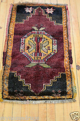 Antique 1900-1939s 1'6''x2'8'' Natural Dyes Wool Pile Tribal Cushion Cover Rug
