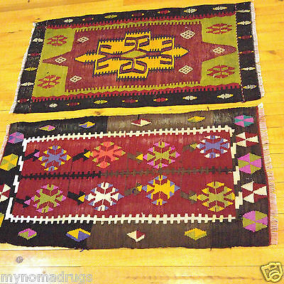 Two Beautiful 1'7''x3' Antique Natural Dyes Kilim Wool Flat Woven Cushion Cover
