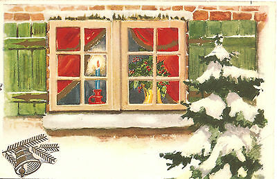 Christmas Window Scene with Candle & Holly Antique Vintage French Postcard