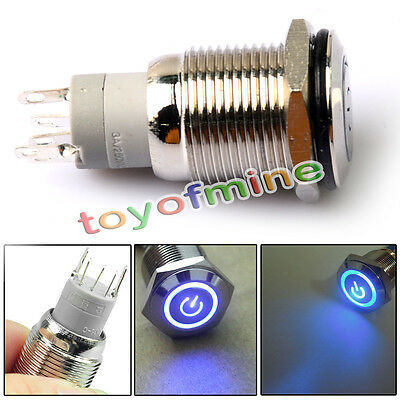 12V 16mm Blue LED Power Push Button Switch Silver Aluminum Metal Latching Type