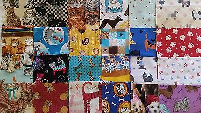 """Cat and Dog charm fabric pack 24 x 6 1/2"""" squares"""