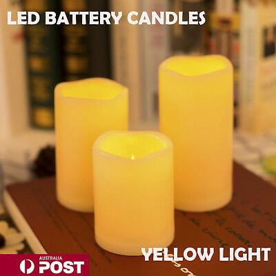3X LED Candles Battery Operated Flickering Pillar Flameless Unscented