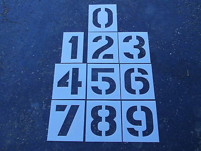 "12"" Plastic NUMBER Stencils for a Parking Lot Parking Lot Re Usable 1/16"" LDPE"