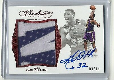 2015-16 Panini Flawless Auto  2 Color Letter Patch Karl Malone 09/15