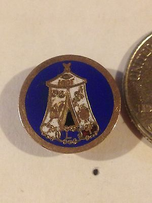 Vintage IOOF FLT Odd Fellows Screw Back Pin jeweler tested 10k tent blue
