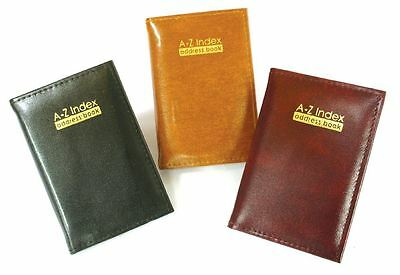 A - Z Index Leather Cover Executive Padded Address Book Assorted Colours