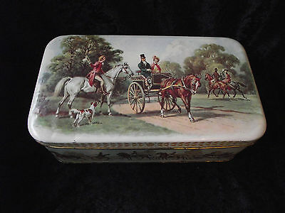 Vintage Broadhurst & Co Biscuit Tin (Horse & Carriage Scene) - Hinged Lid