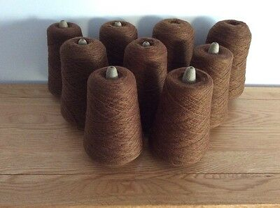 9 Cones Of 2ply Brown  Machine Knitting Wool